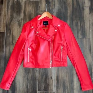 Express red faux leather red crop jacket small
